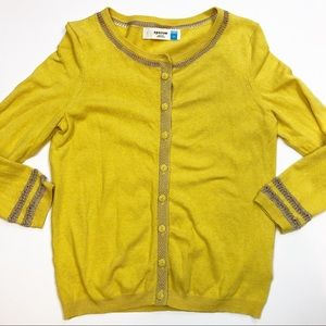 Anthropologie Emanation Cardigan Yellow Gold